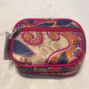 Pink paisley pill case for purse